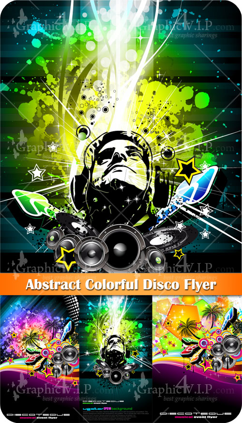 Abstract Colorful Disco Flyer - Stock Vectors