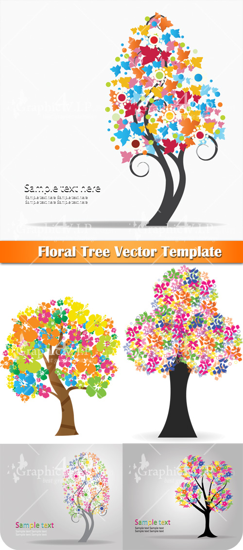 Floral Tree Template - Stock Vectors