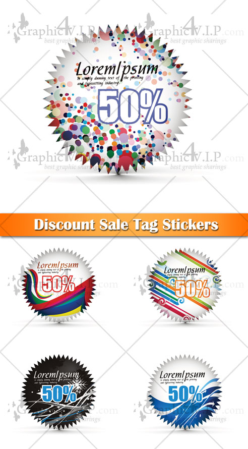 Discount Sale Tag Stickers - Stock Vectors
