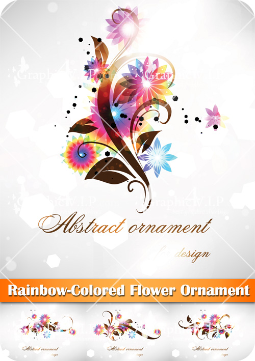 Rainbow-Colored Flower Ornament - Stock Vectors