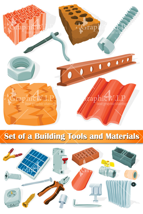 Set of a Building Tools and Materials - Stock Vectors