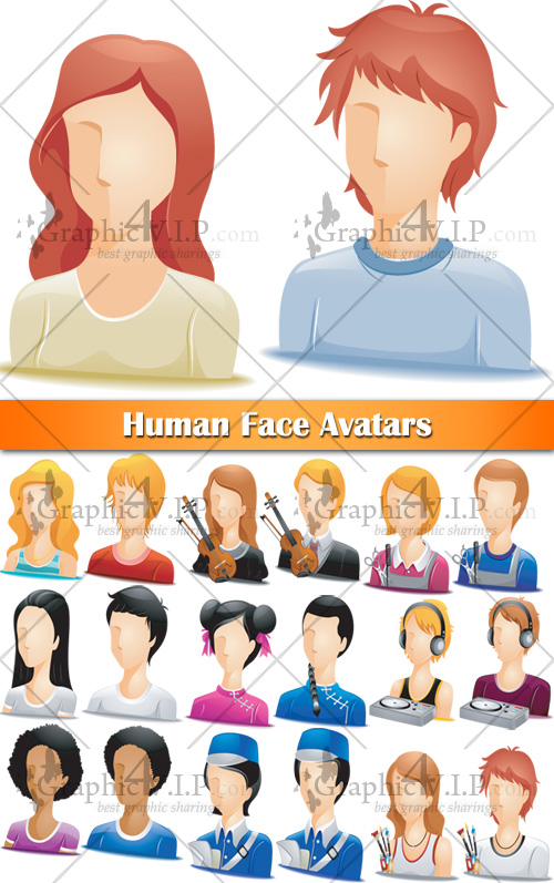 Human Face Avatars - Stock Vectors