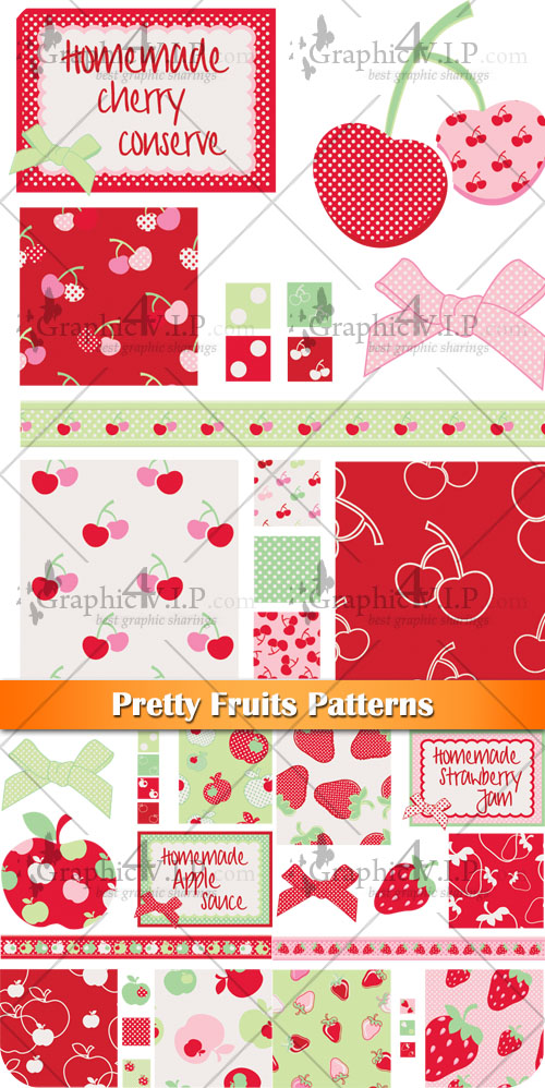 Pretty Fruits Patterns - Stock Vectors