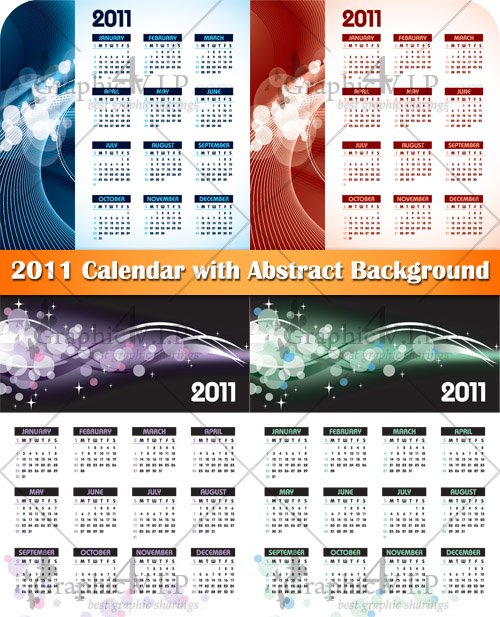 2011 Calendar with Abstract Background - Stock Vectors