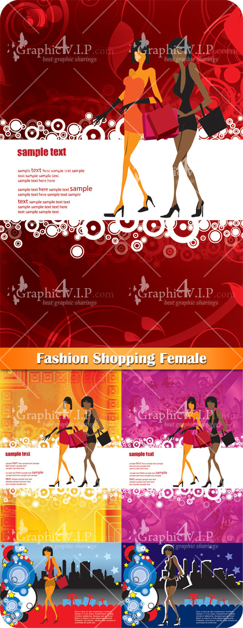 Fashion Shopping Female - Stock Vectors