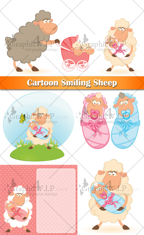 Cartoon Smiling Sheep - Stock Vectors