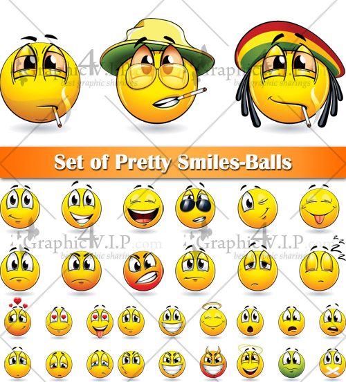 Set of Pretty Smiles-Balls - Stock Vectors