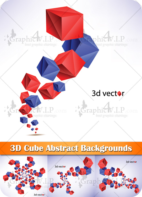 3D Cube Abstract Backgrounds - Stock Vectors