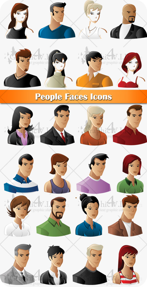 People Faces Icons - Stock Vectors