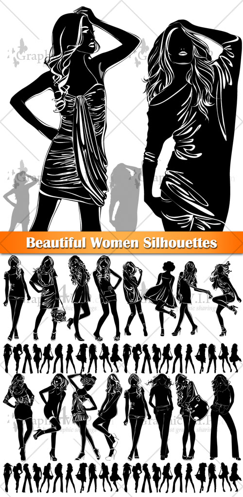 Beautiful Women Silhouettes - Stock Vectors