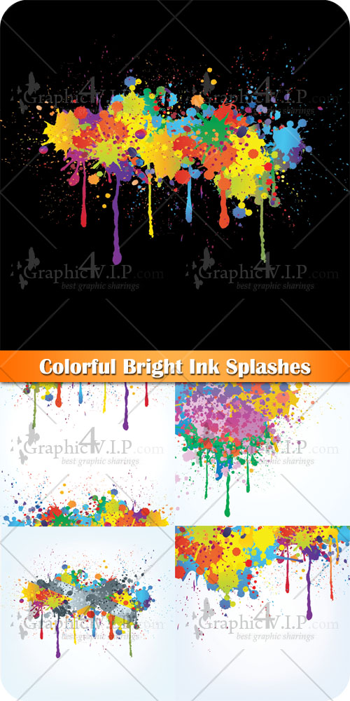 Colorful Bright Ink Splashes - Stock Vectors