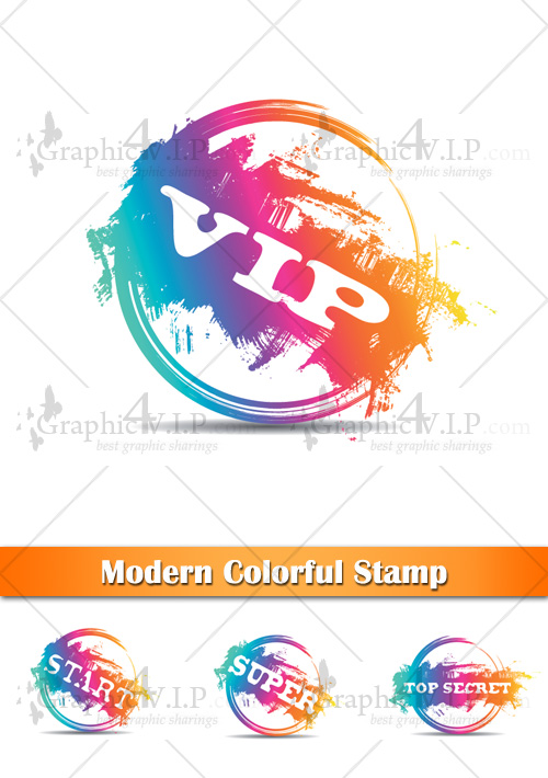 Modern Colorful Stamp - Stock Vectors