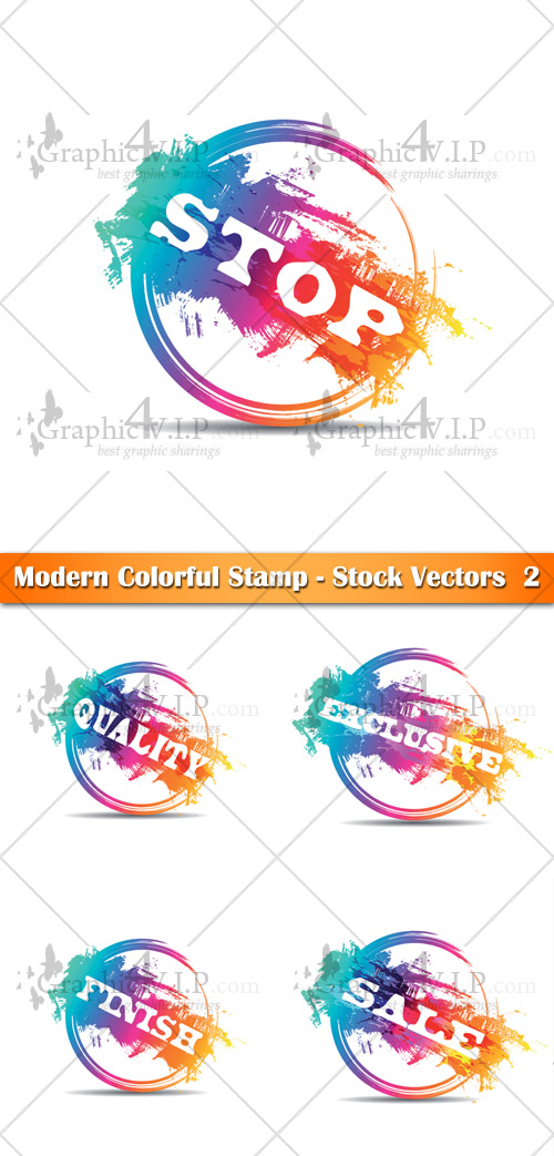 Modern Colorful Stamp 2 - Stock Vectors