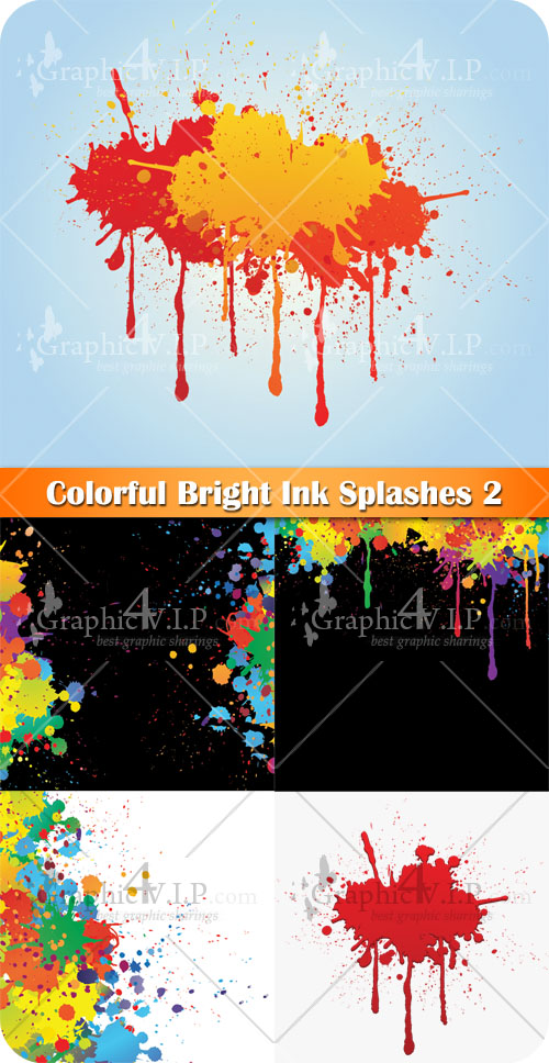 Colorful Bright Ink Splashes 2 - Stock Vectors