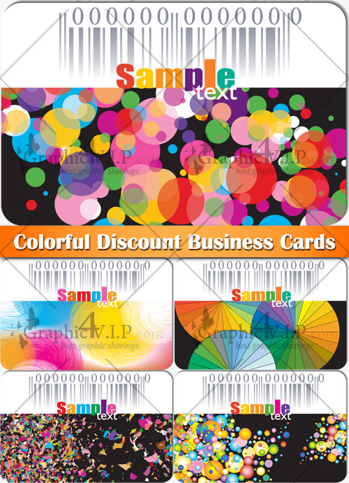 Colorful Discount Business Cards - Stock Vectors