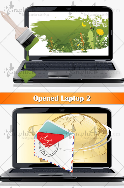 Opened Laptop 2 - Stock Vectors