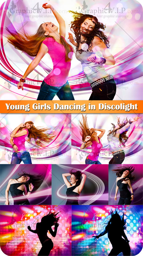 Young Girls Dancing in Discolight - Stock Photos