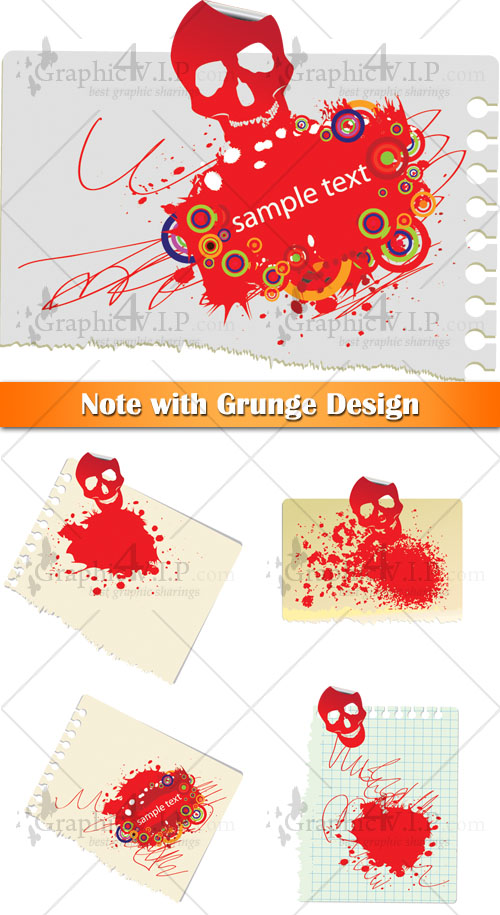 Note with Grunge Design - Stock Vectors