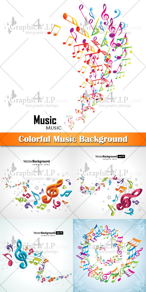 Colorful Music Background - Stock Vectors