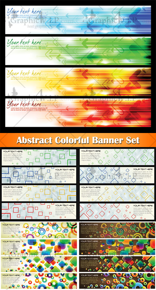 Abstract Colorful Banner Set - Stock Vectors