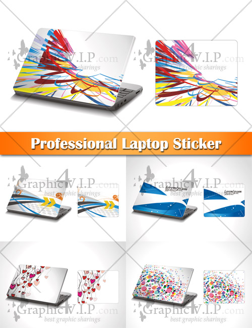 Professional Laptop Sticker - Stock Vectors