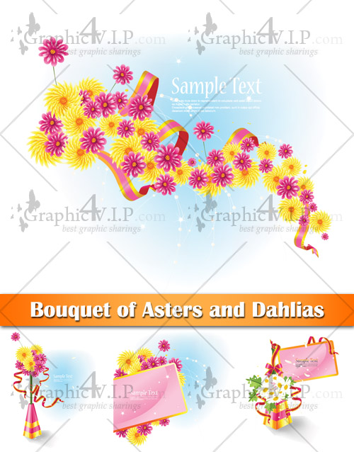 Bouquet of Asters and Dahlias - Stock Vectors
