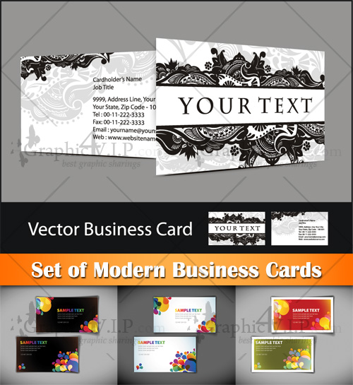Set of Modern Business Cards - Stock Vectors
