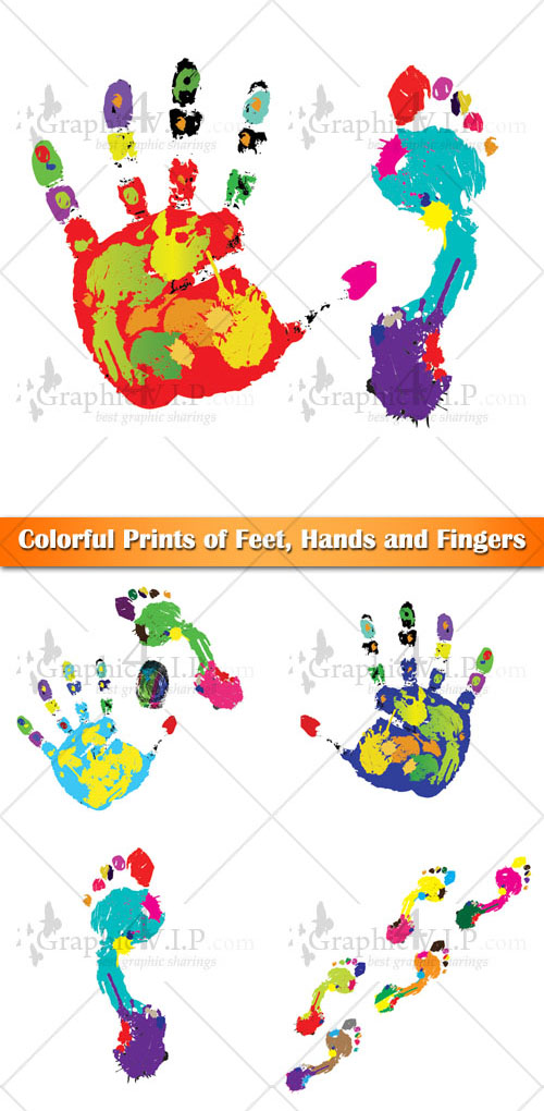 Colorful Prints of Feet, Hands and Fingers - Stock Vectors