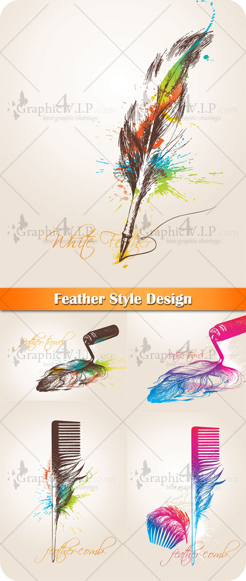 Feather Style Design - Stock Vectors