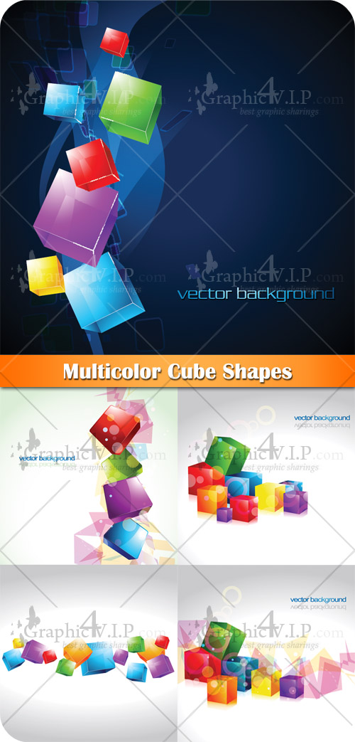 Multicolor Cube Shapes - Stock Vectors