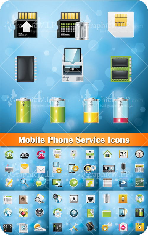 Mobile Phone Service Icons - Stock Vectors