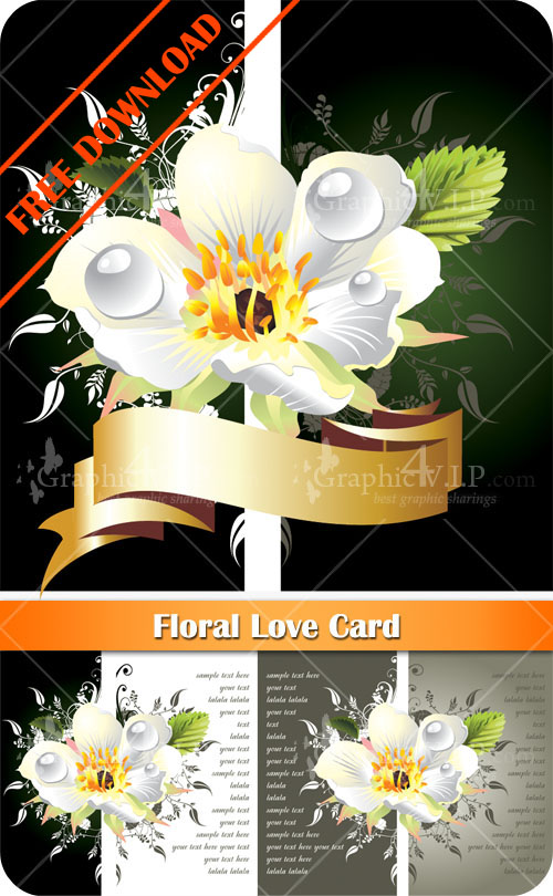 Floral Love Card - Stock Vectors