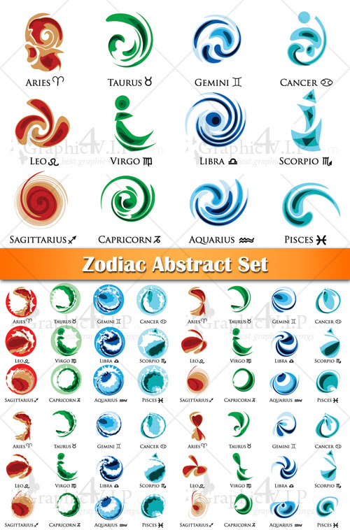 Zodiac Abstract Set - Stock Vectors