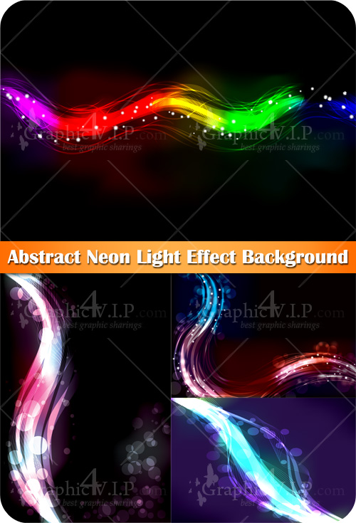 Abstract Neon Light Effect Background - Stock Vectors