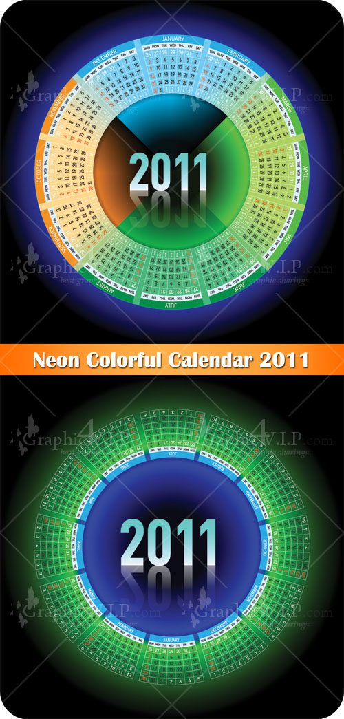 Neon Colorful Calendar 2011 - Stock Vectors