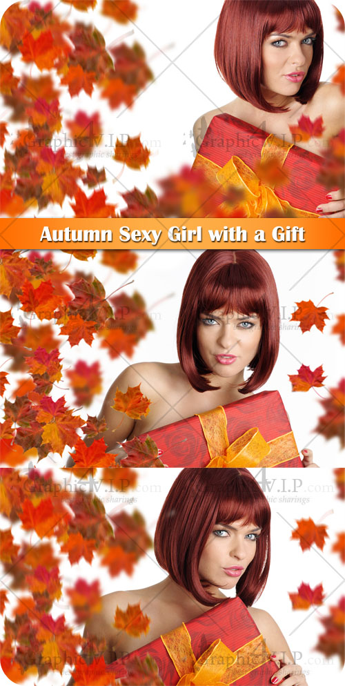 Autumn Sexy Girl with a Gift - Stock Photos