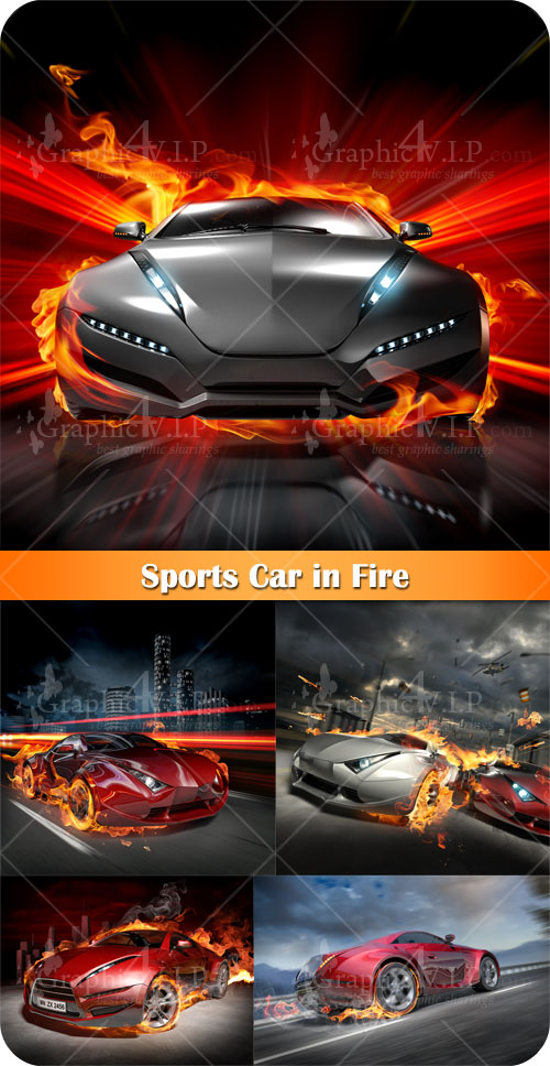 Sports Car in Fire - Stock Photos