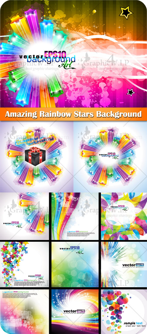 Amazing Rainbow Stars Background - Stock Vectors