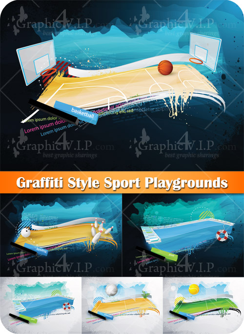 Graffiti Style Sport Playgrounds - Stock Vectors