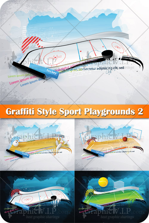 Graffiti Style Sport Playgrounds 2 - Stock Vectors