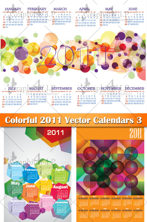 Colorful 2011 Vector Calendars 3 - Stock Vectors