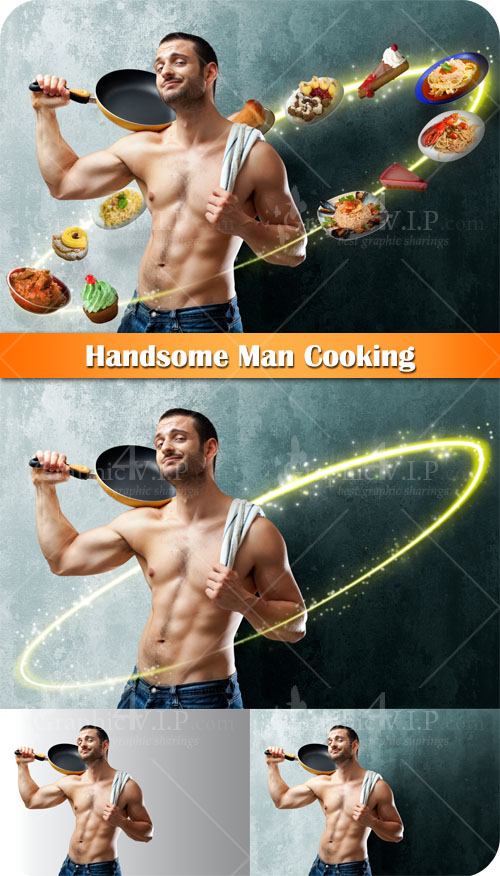 Handsome Man Cooking - Stock Photos