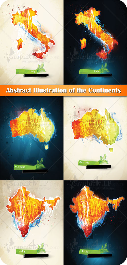 Abstract Illustration of the Continents - Stock Vectors