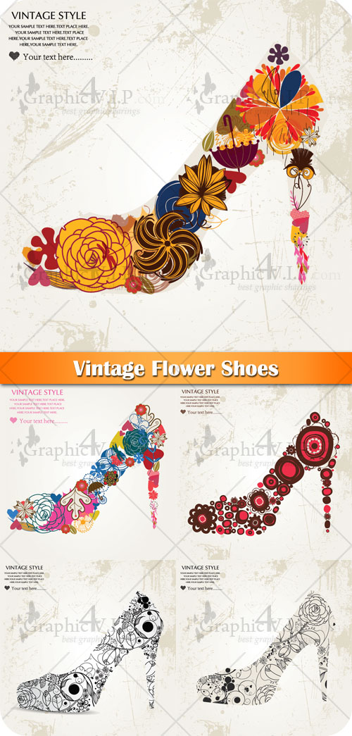 Vintage Flower Shoes - Stock Vectors