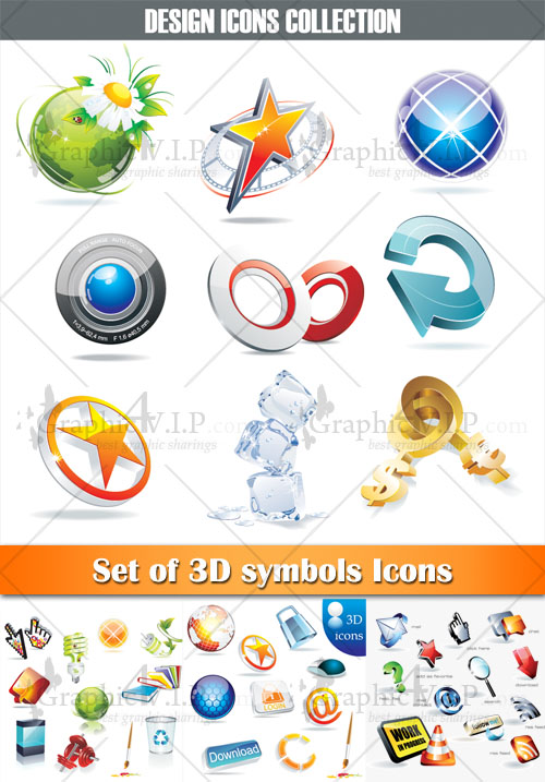 Set of 3D Symbols Icons