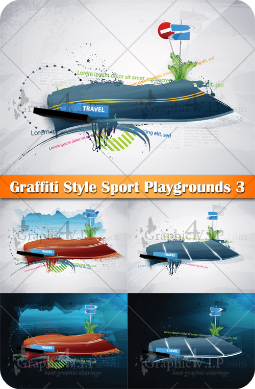 Graffiti Style Sport Playgrounds 3 - Stock Vectors