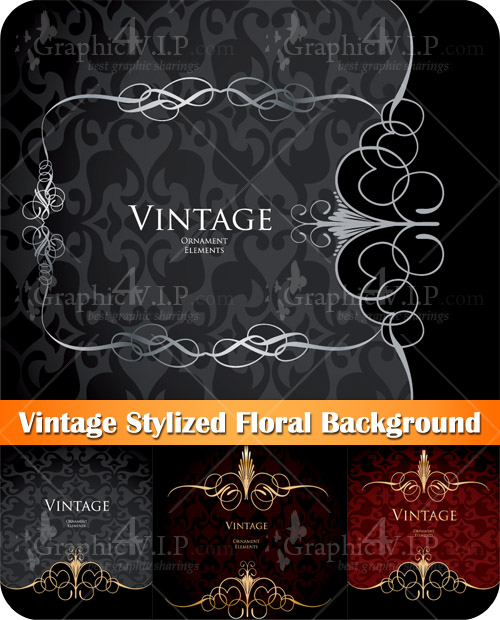 Vintage Stylized Floral Background - Stock Vectors