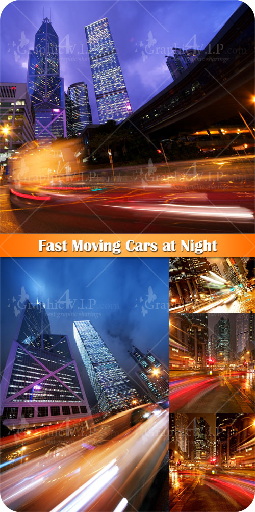 Fast Moving Cars at Night - Stock Photos