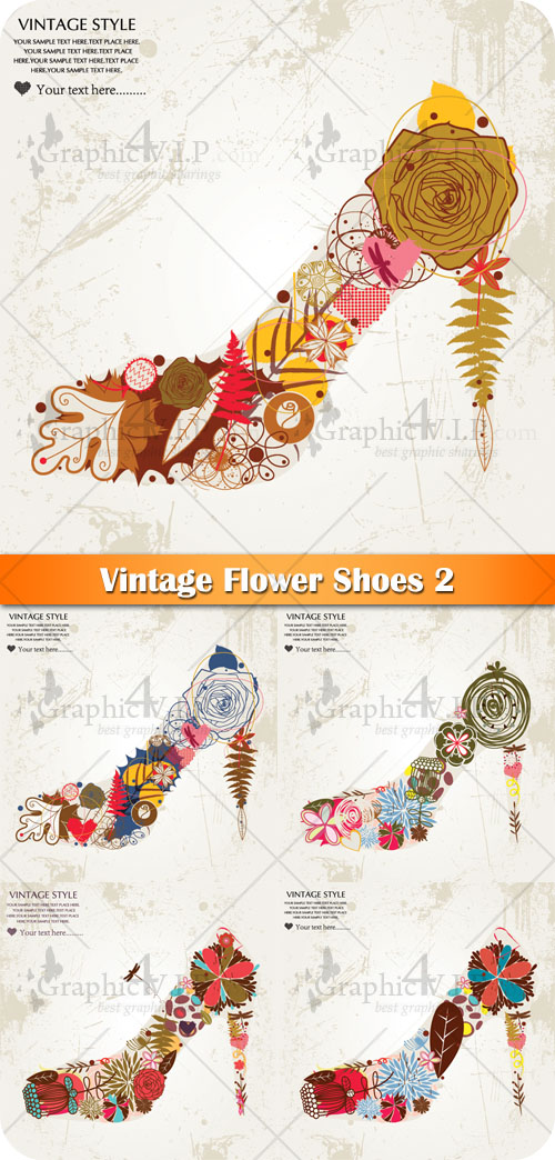 Vintage Flower Shoes 2 - Stock Vectors