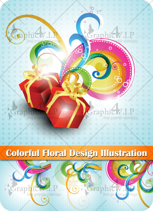 Colorful Floral Design Illustration - Stock Vectors